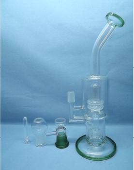 QYF2260-Percolated Pyrex Glass Smoking Water Pipes