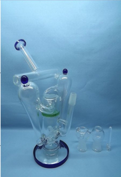 QYF2254-hand Blowing Pyrex Glass Recycler Water Pipes