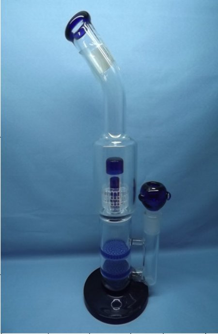QYF2235-glass water pipes with matrix and honeycomb percolator